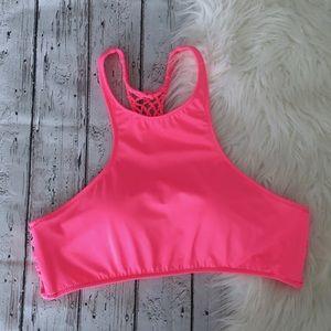 VS Hot Pink High Neck Swim Top
